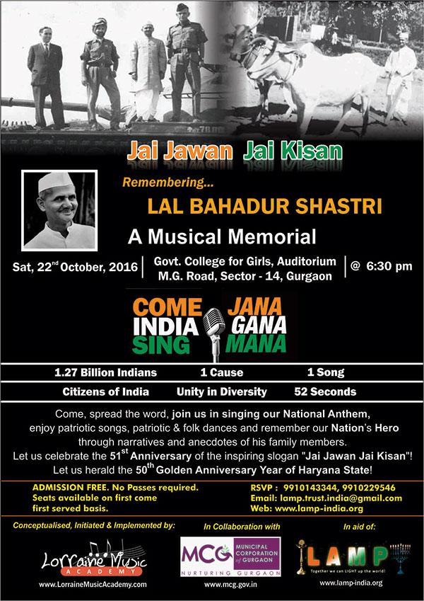 Jai Jawan Jai Kisan A Musical Memorial Remembering Lal Bahadur Shastri 22 Oct 2016